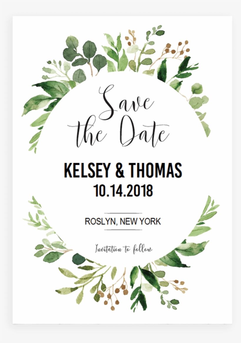Green Leaves Invitation Template - Save The Date Template Green, transparent png #49222