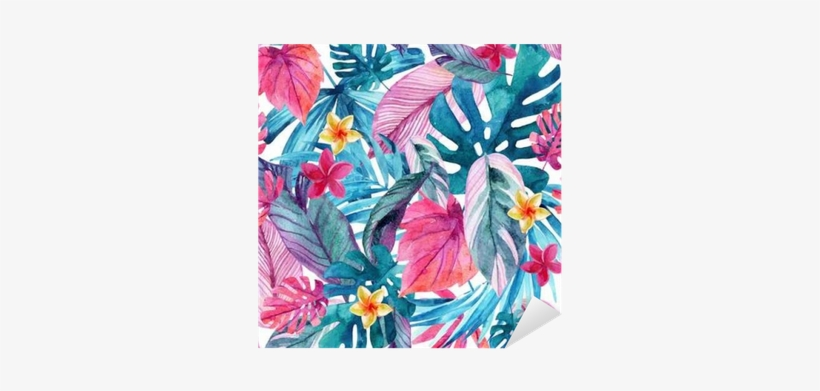 Watercolor Exotic Leaves And Flowers Background - Watercolor Tropical Background Exotc, transparent png #401044