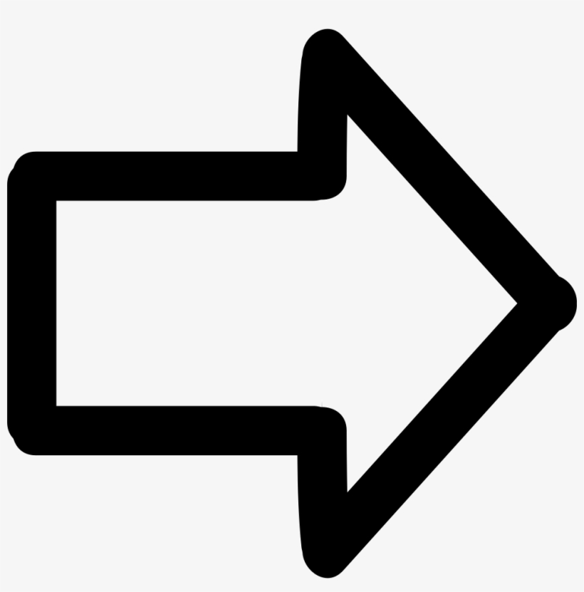 Arrow Pointing To Right Hand Drawn Symbol - White Arrow Pointing Right, transparent png #405355