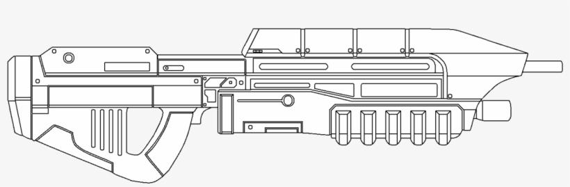 Halo Assault Rifle Drawing - Assault Rifle, transparent png #405380
