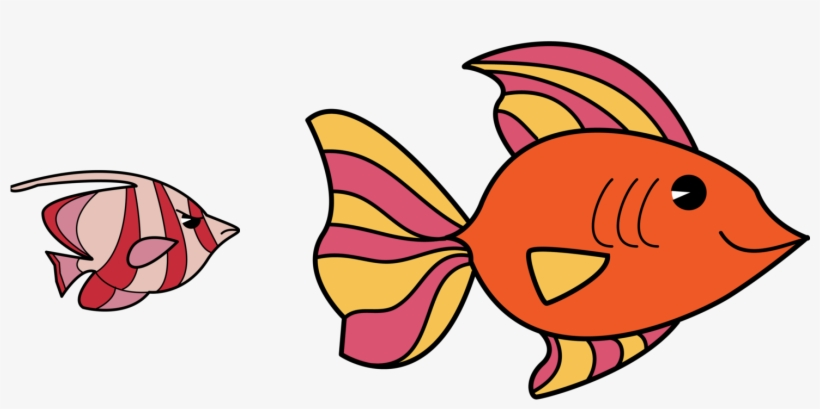 In Simple Words - Cartoon Small Fish And Big Fish, transparent png #4002427