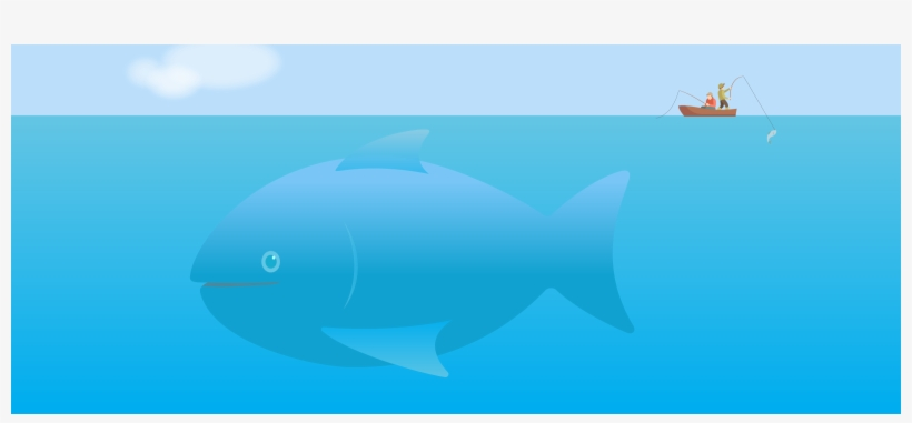 Huge Fish Missed By Fishermen In Boat Preoccupied With - Boat, transparent png #4002881