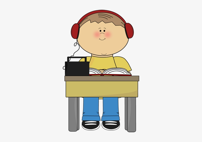 Boy Reading And Listening To Book Clip Art - Sit Down At School, transparent png #4006664