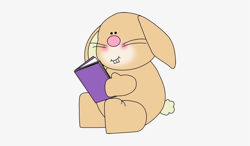 Bunny Reading School Book Clip Art - Bunny Reading Clipart, transparent png #4006731