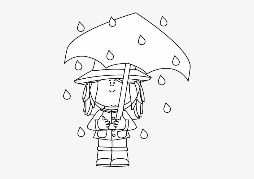 Black And White Girl Standing In The Rain Clip Art - Rain
