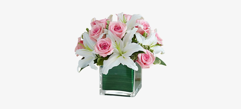 Pink Roses And White Lilies - 1-800 Flowers Modern Embrace Pink Rose, transparent png #4012585