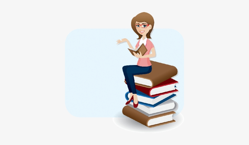 Cartoon Woman Reading Book On Stack Of Books - Women Reading Books Cartoon, transparent png #4014643