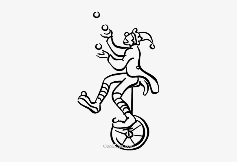 Clown On A Unicycle Royalty Free Vector Clip Art Illustration