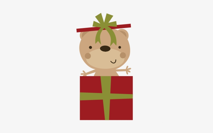 Bear In Present Svg File For Scrapbooking Christmas - Christmas Bear Png, transparent png #4018516