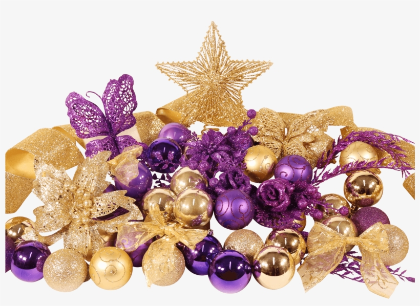 9ft Festive Decoration Set - Christmas Trees Decorated In Purple And Gold, transparent png #4020059