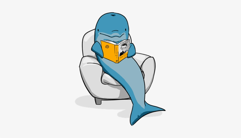 Dolphins Clipart Reading - Dolphin Reading A Book, transparent png #4026813