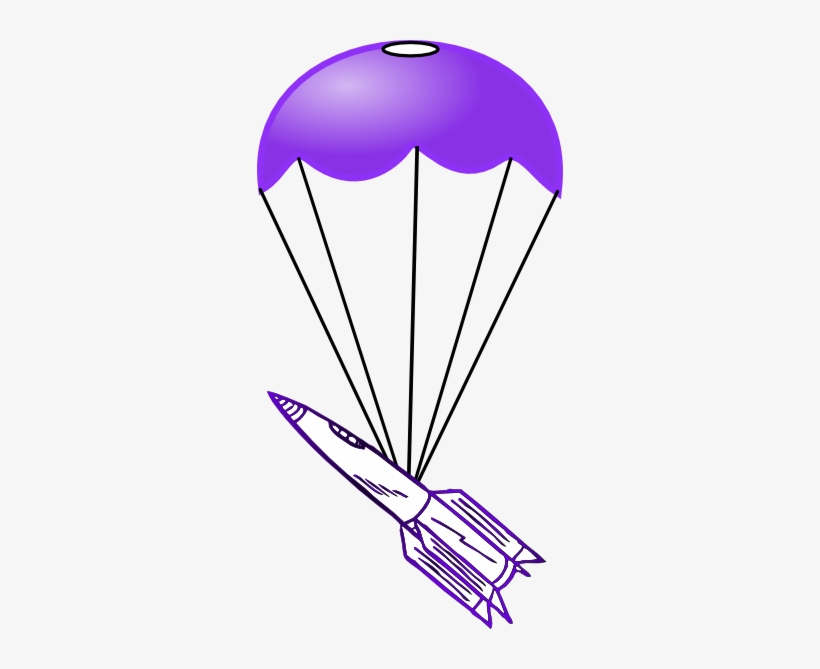 Parachute With Rocket Clip Art - Drawings Of Rockets And Parachutes, transparent png #4027137