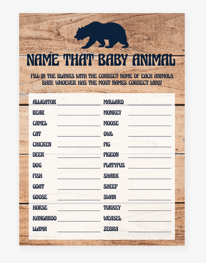 Name That Baby Animal Game For Rustic Baby Shower Printable