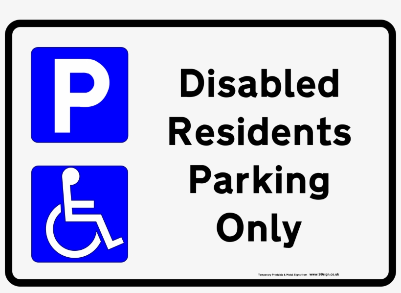 Printable Disabled Parking Sign Free Template For Residents