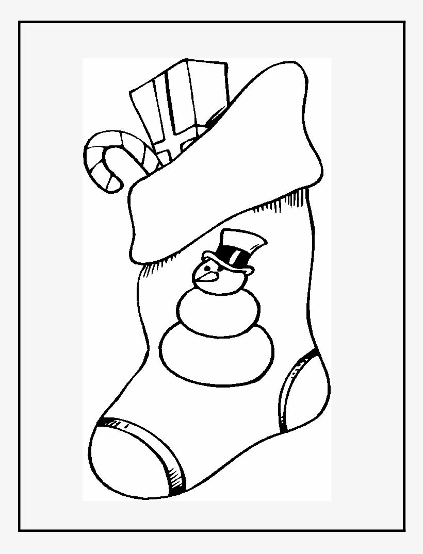 Bota De Navidad Con Regalos Para Pintar Y Recortar - Stocking Coloring Pages, transparent png #4045234