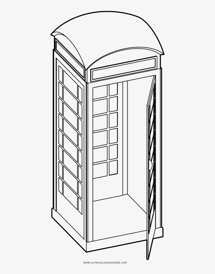 Phone Booth Coloring Page - Cabina De Telefono Para Colorear, transparent png #4054293