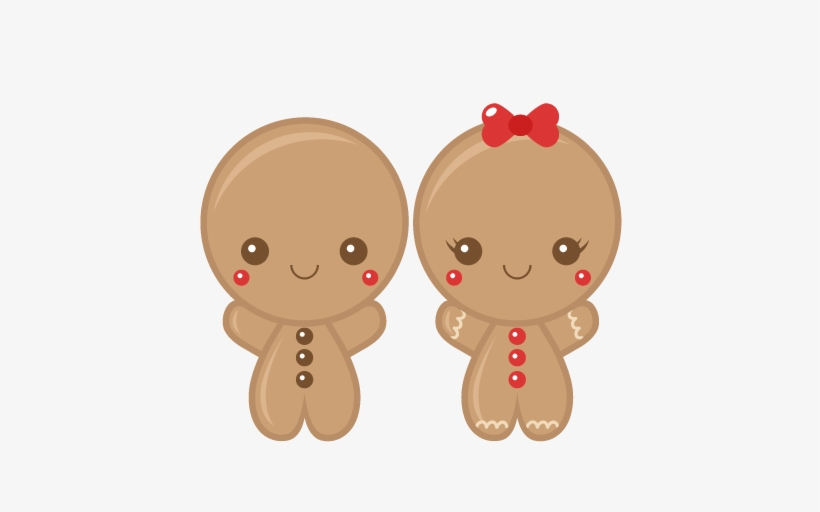 Gingerbread Boy & Girl Scrapbook Clip Art Christmas - Cute Christmas Gingerbread Man, transparent png #4060714