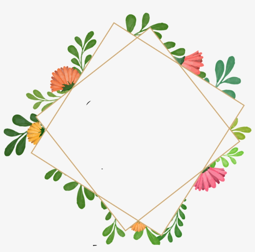 Flowers Geometricshapes Geometric Frame Border Wreath - Watercolor Painting, transparent png #4065569