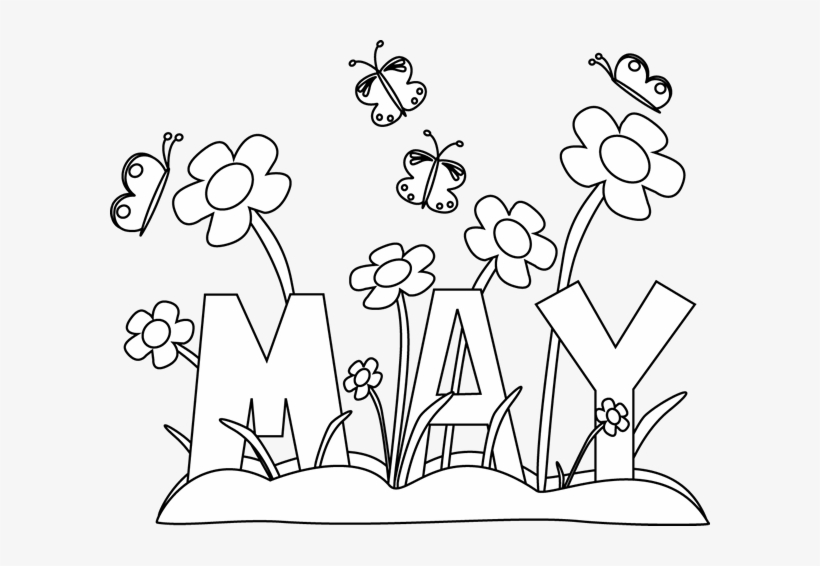 Black And White Month Of May Flowers May Coloring Pages Free