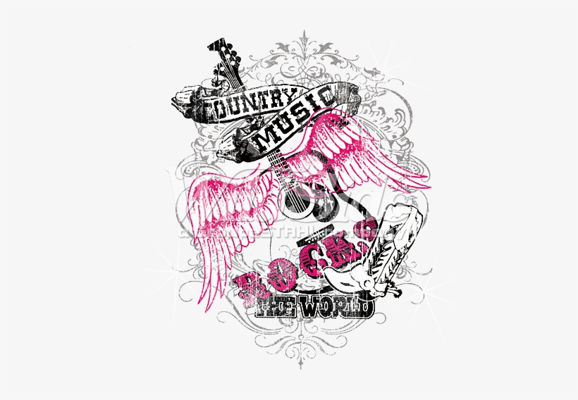 Winged Guitar With The Phrase 'country Music Rocks - Country Music Rocks Graphic, transparent png #4068276