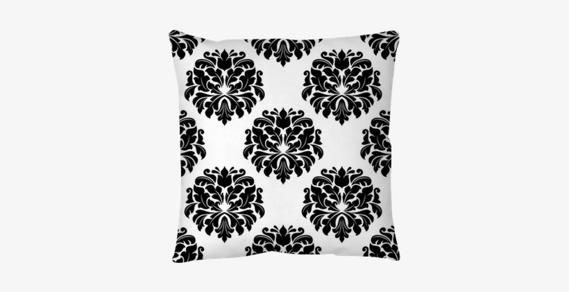 Floral Seamless Arabesque Damask Pattern Throw Pillow - Pattern, transparent png #4072058