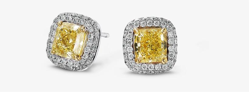 Cushion Cut Halo Diamond Studs - Yellow Diamond Cushion Cut Earrings Studs, transparent png #4073776