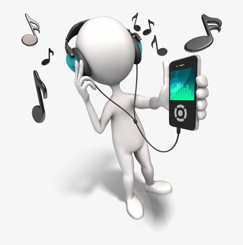 With - Stick Figure Listening To Music, transparent png #4086311