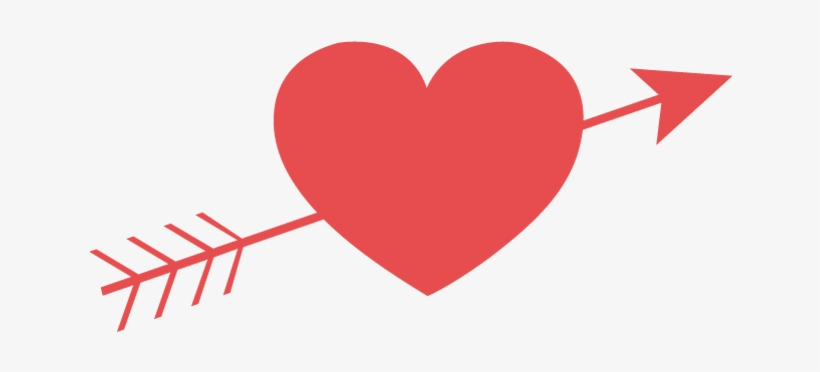 Simple Valentines Day Heart And Arrow - Valentines Day Heart With Arrow, transparent png #4086312