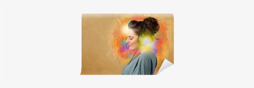 Young Woman With Headphones Listening To Music Wall - Music, transparent png #4086989