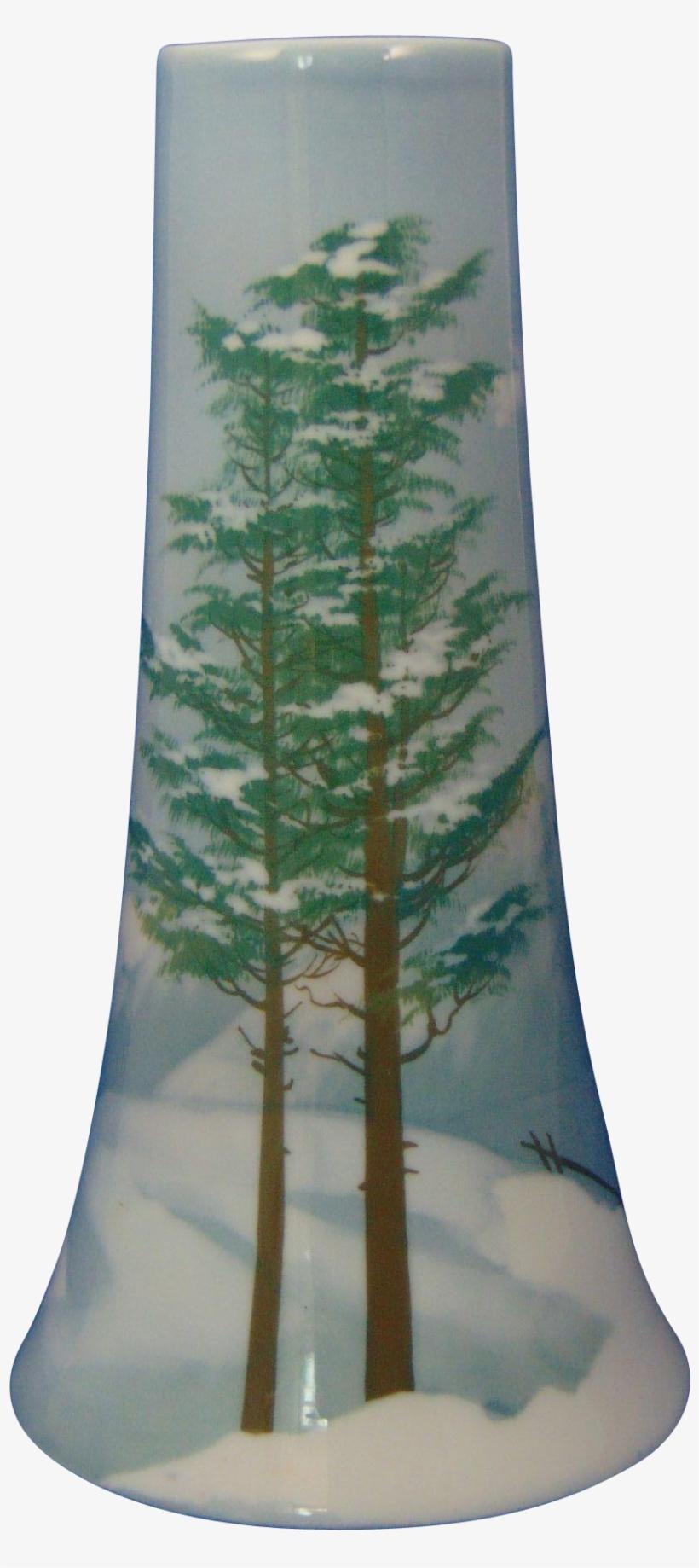 Bavaria Arts & Crafts Winter Landscape Motif Vase - Christmas Tree, transparent png #4090377
