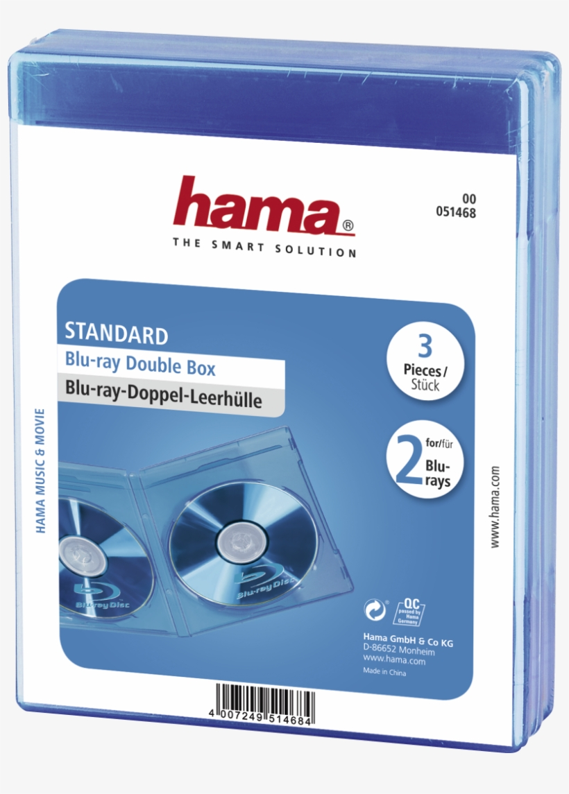 Blu Ray Dubbel Jewel Case 3 Pack Blauw - Hama Blu-ray Disc Double Jewel Cases - Blue (pack Of, transparent png #4096184