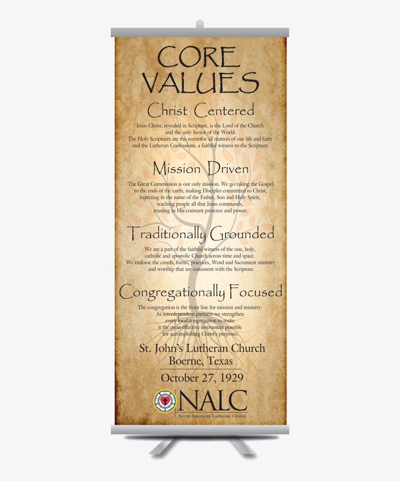 Nalc Lutheran Core Values Banner - North American Lutheran Church, transparent png #4097670