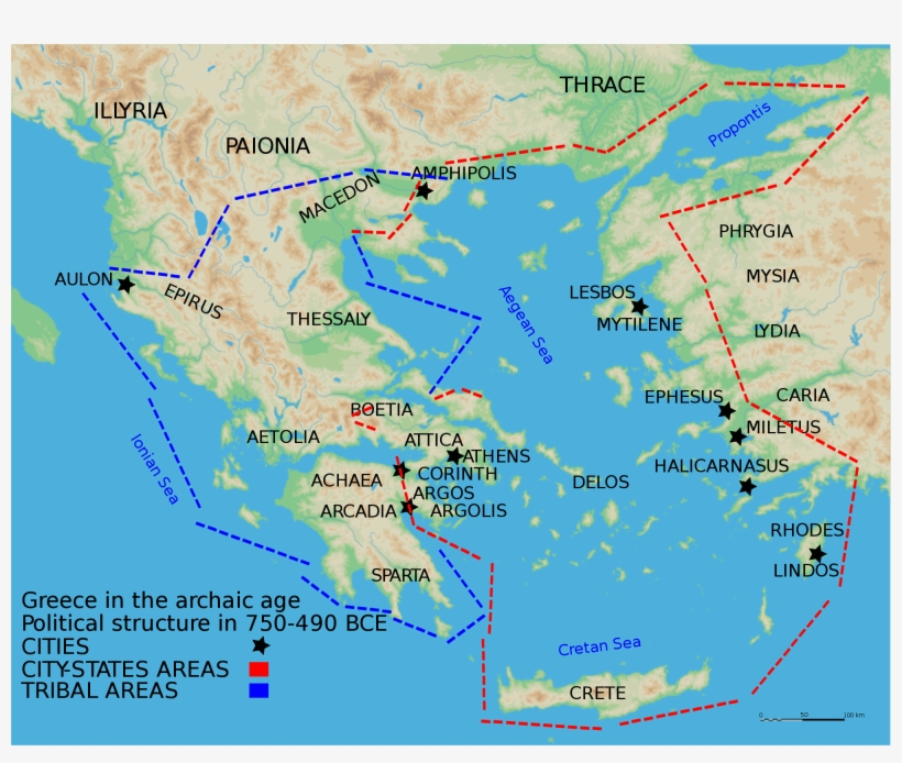 Map Of The Archaic Period In Ancient Greece Or Ancient