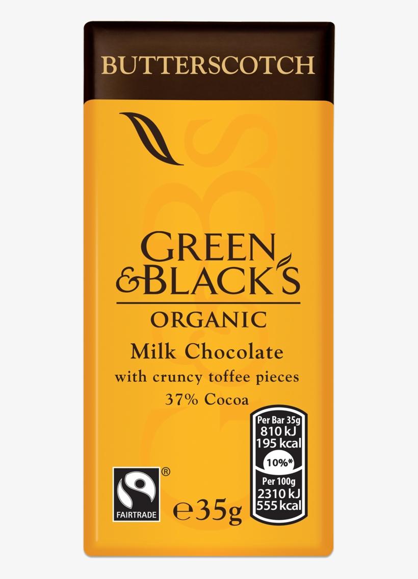 G&b's Butterscotch 35g Bar - Green And Blacks Salted Caramel, transparent png #4099917