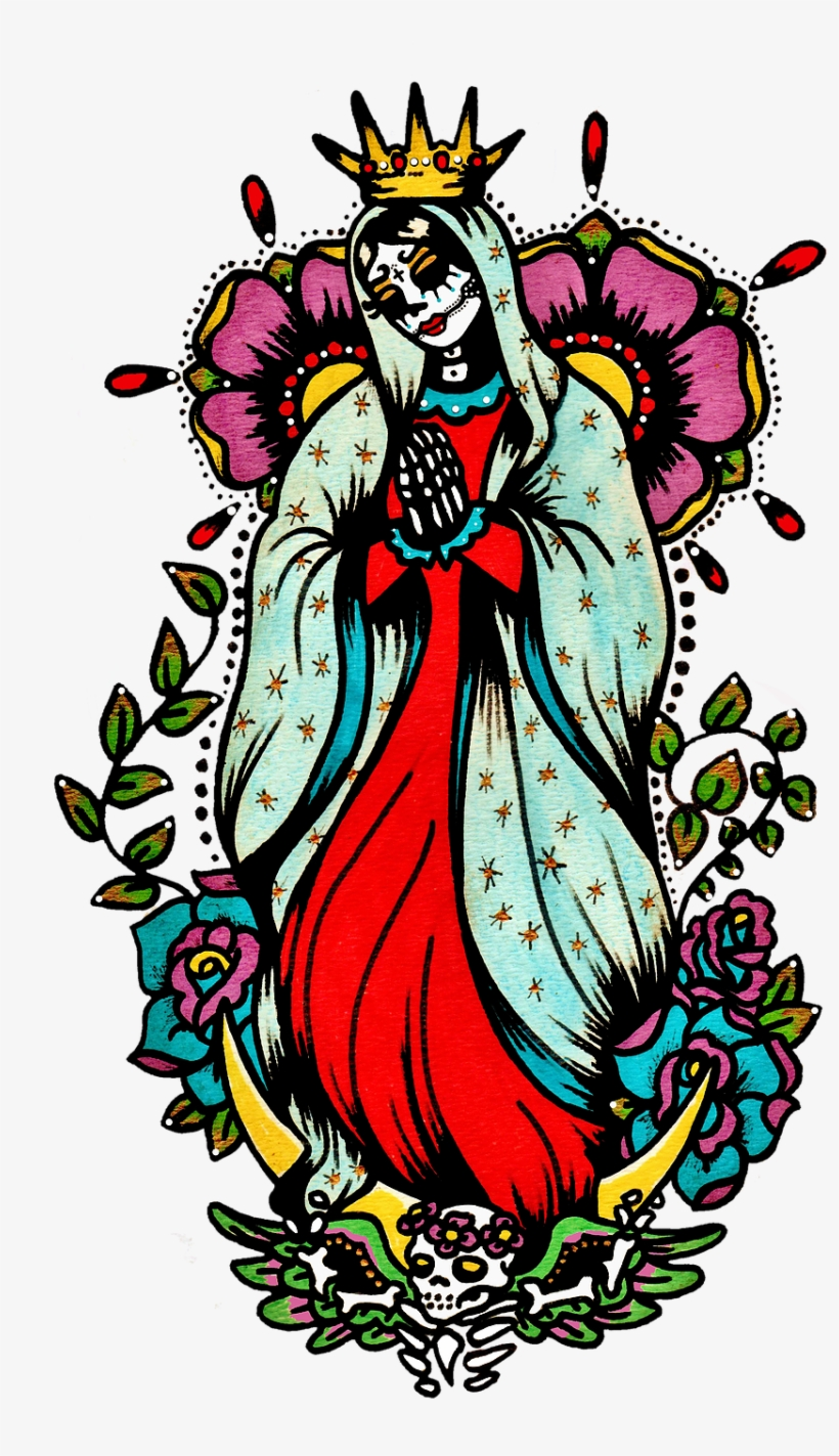 Day Of The Dead Art Virgin Mary Tattoo - Illustrated Ink, transparent png #411172