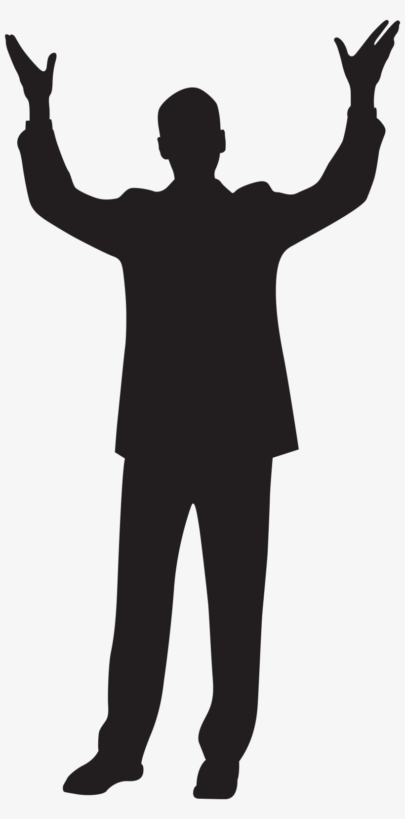 Banner Black And White Library Clipart Silhouette At - Silhouette Man Hands Up, transparent png #411442