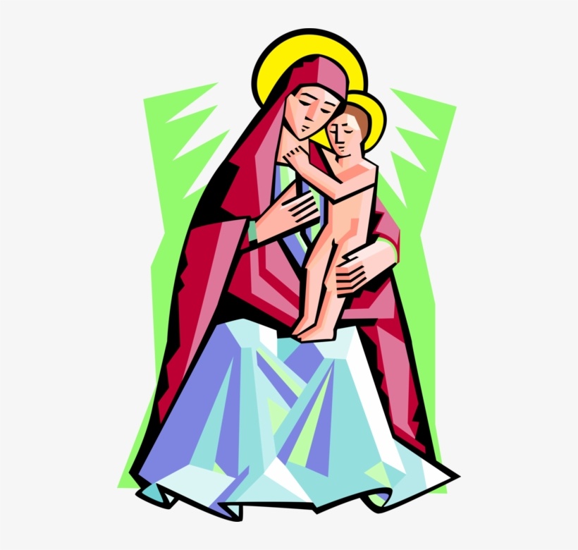 Vector Illustration Of Virgin Mary Mother Of God With - Madonna And Christ Jesus Clipart, transparent png #411553