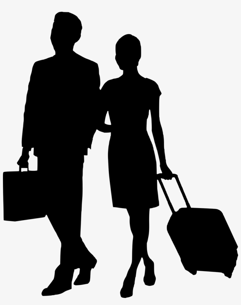 Clip Free Stock Travel Silhouette Man - Business Man And Woman Silhouette, transparent png #411636