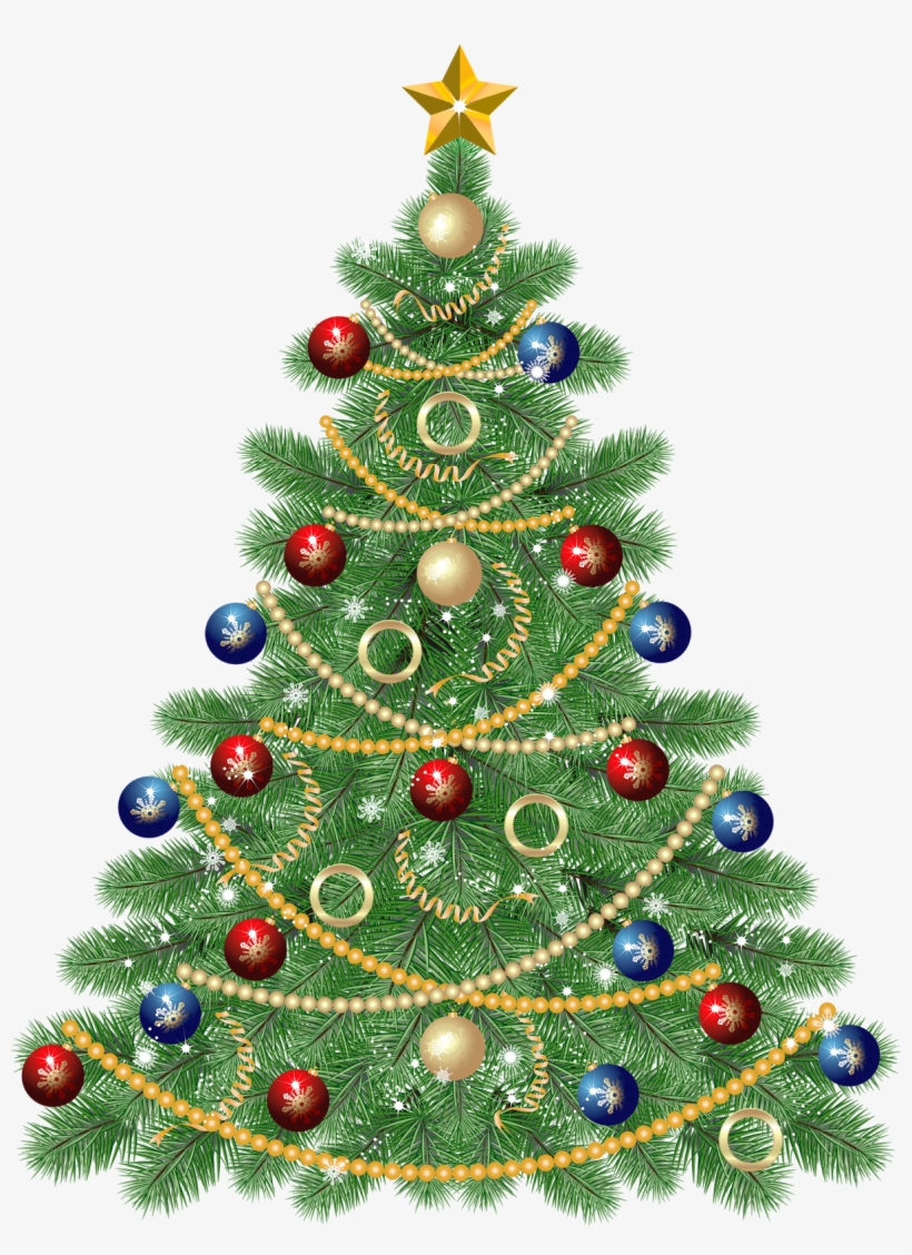 Large Transparent Christmas Tree With Star Clipart - Clipart Christmas Tree, transparent png #411949