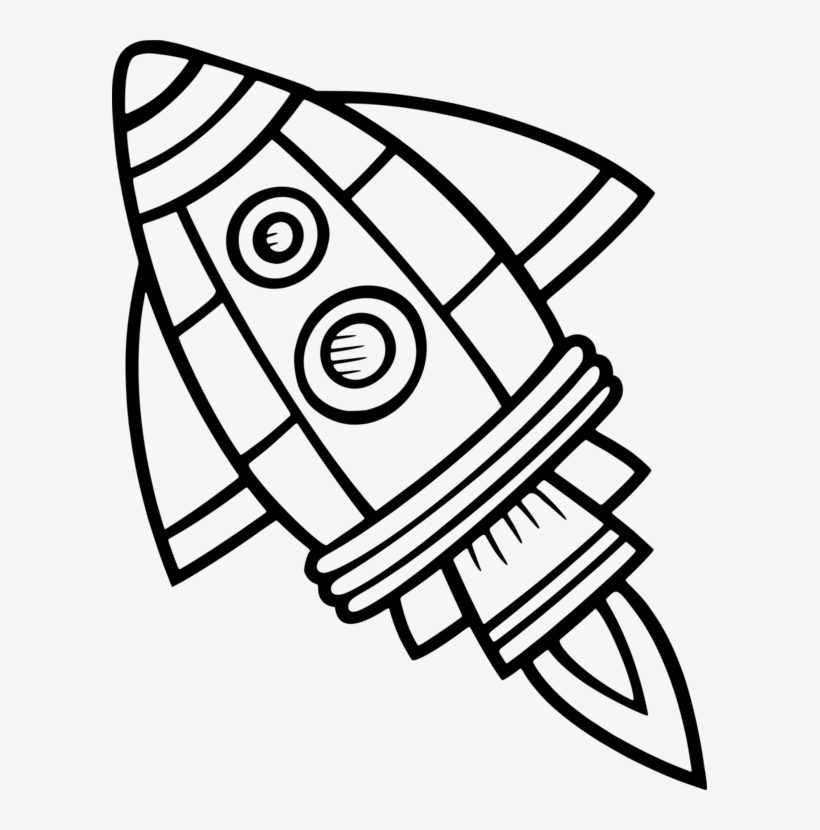 Spacecraft Drawing Black And White Rocket Computer - Clip ...