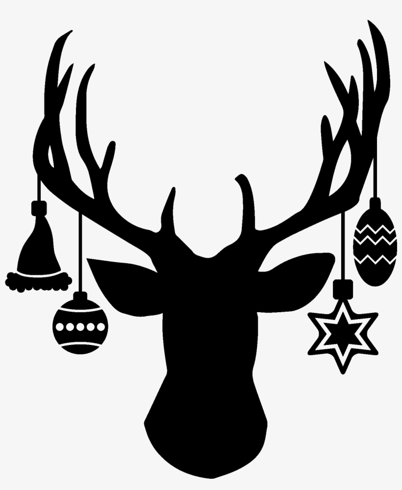 Deer Head With Hanging Ornaments - Christmas Deer Head Silhouette, transparent png #417998
