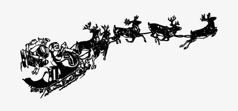 Vintage, Santa Claus, Sleigh, Reindeer - Santa Sleigh Png Transparent, transparent png #418415