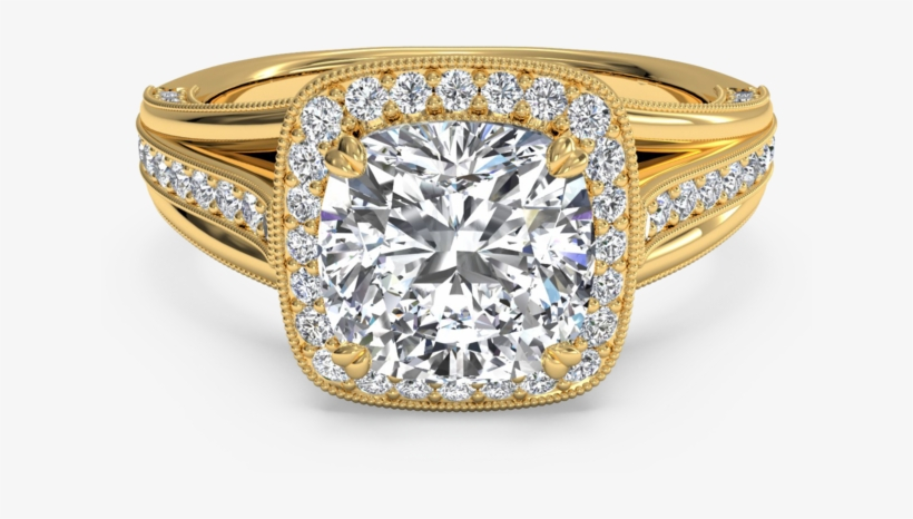 Designer Halo Cushion Cut Engagement Ring With Milgrain - Beautiful Diamond Ring Gold, transparent png #419374