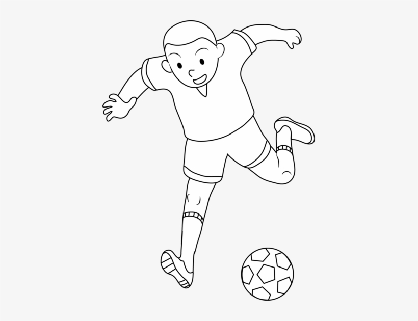 Coloring Page Of Boy Playing Soccer Free Clip Art Png - Playing Soccer Clipart Black And White, transparent png #4102074