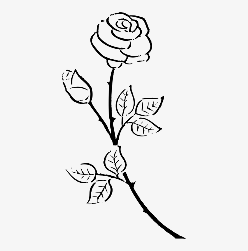 Kisscc Silhouette Drawing Rose Black And White Flower - Vintage Rose Rose Silhouette, transparent png #4103839