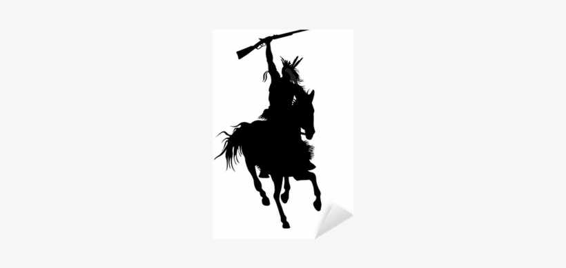 Silhouette Of Indian Warrior On A Horse With A Weapon - Keep Calm And Carry On, transparent png #4105002