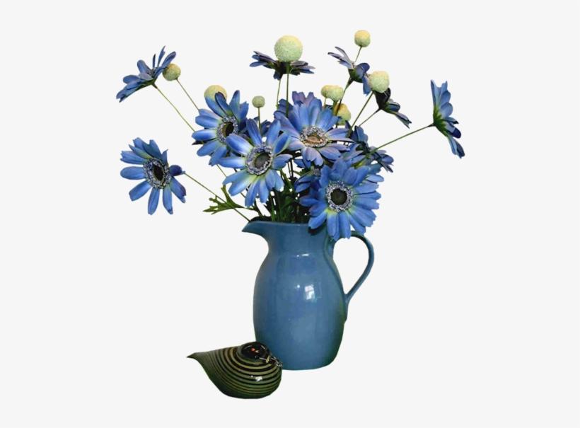 Beautiful Flower Vase With Flowers Png Download - Vase Decoration Blue Flower, transparent png #4105556
