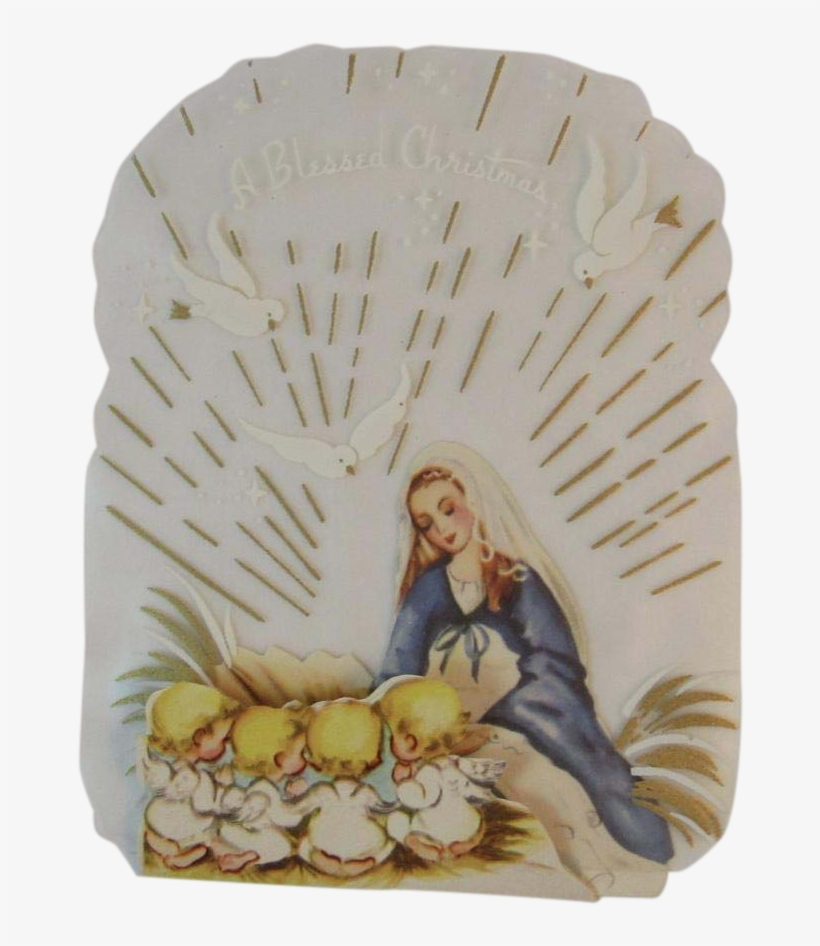 Unused Clear Back Christmas Card Mary & Baby Jesus - Christmas Day, transparent png #4112722