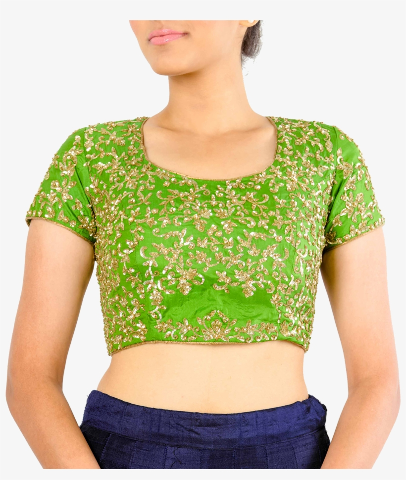 Green Silk Blouse With Gold Sequins By Stylease Exclusive - Product, transparent png #4116328