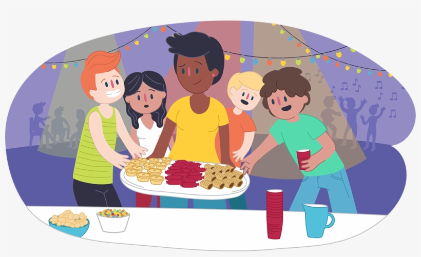 Parent Putting Food Down For Teens At A Party - Kids Helpline, transparent png #4127047
